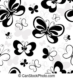Seamless white pattern with silhouettes butterflies (vector)