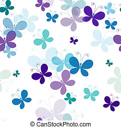 Seamless pattern with butterflies - Seamless white pattern...