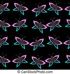 Seamless pattern with butterfly embroidery stitches imitation