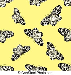 Seamless pattern with butterfly Idea Leuconoe. Paper Kite ....