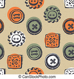Seamless pattern with buttons in retro style