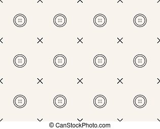 Seamless pattern with buttons, vector, tailoring