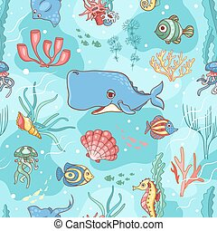 Seamless pattern with cachalot
