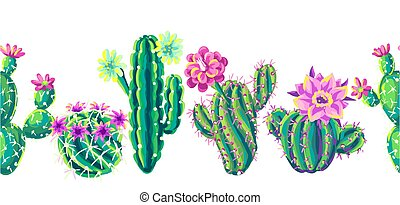 Seamless pattern with cacti and flowers. Decorative spiky ...