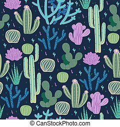 Seamless pattern with cacti on a blue background. Vector graphics.