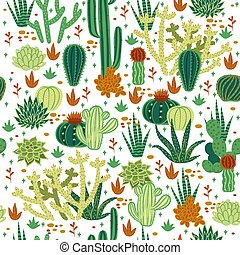 Seamless pattern with cacti on a white background. Vector graphics.
