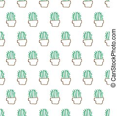Seamless pattern with cactus and heart-shaped flowers in green and pink on ivory background. Hand drawn vector illustration. Design for fabric and decor.