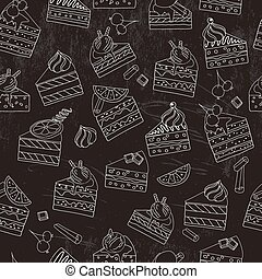 Seamless pattern with cake slices.