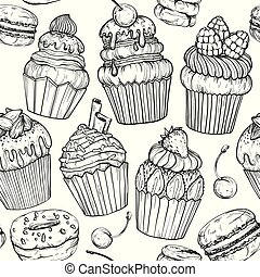Seamless pattern with Cakes and cupcakes baked chocolate dessert, bakery set, black and white