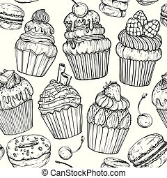 Seamless pattern with Cakes and cupcakes, black and white