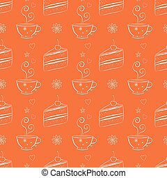 Seamless pattern with cakes and teacups