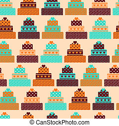 Seamless pattern with cakes in retro style.
