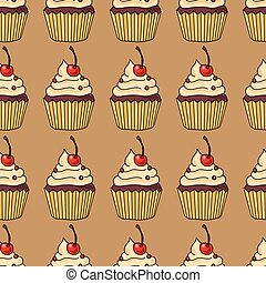 Seamless pattern with cakes, vector illustration