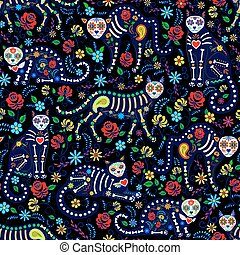 calavera cats and sugar skills - Seamless pattern with ...