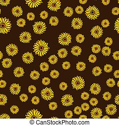 Seamless pattern with calendula flowers on a dark background. Vector illustration.