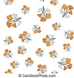 Seamless pattern with californian poppy. Vector illustration