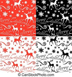 Seamless pattern with calligraphic text Merry Christmas, snowfla