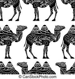 Seamless pattern with camel silhouette