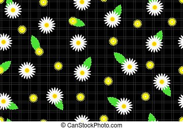 Seamless pattern with camomiles and daisies on a black tartan background
