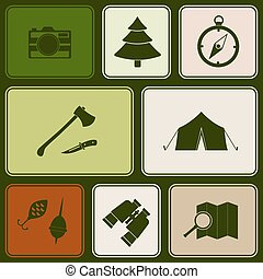 Seamless pattern with camping icons