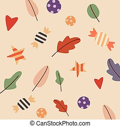 Seamless pattern with candies. Pattern autumn vector