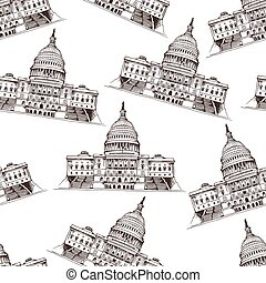 Seamless pattern with Capitol Building