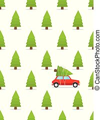 Seamless pattern with car and christmas tree on the roof