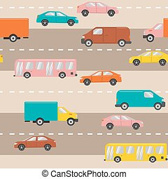 Seamless pattern with cars