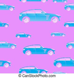 seamless pattern with cars for illustrations and textiles.
