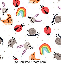 Seamless pattern with cartoon animal faces.