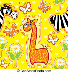 Seamless pattern with cartoon animals - giraffe and zebra - hand made cutout images - Background for children. Ready to use as swatch.