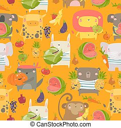 Seamless pattern with cartoon animals holding fruits and vegetables on orange background