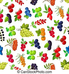 Seamless pattern with cartoon berries vector sea buckthorn, black chokeberry and cherry. Blueberry, hawthorn and lingonberry with bird cherry, honeysuckle and viburnum. Grape, gooseberry and rose hip