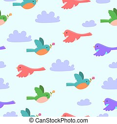 Seamless pattern with cartoon birds and clouds .Vector graphic.