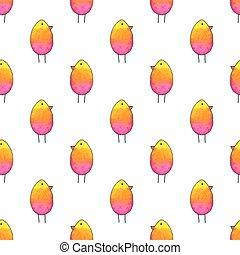 Seamless pattern with cartoon birds. Hand-drawn background. Vector illustration.