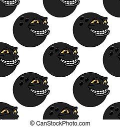 Seamless pattern with cartoon bowling balls