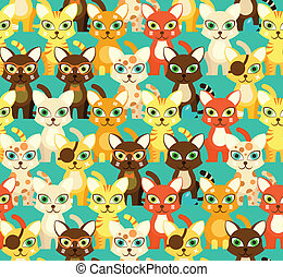 Seamless pattern with cartoon cats