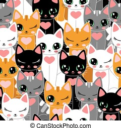 Seamless pattern, with cartoon black, white, red and gray cats. For the design of wallpapers, backgrounds, fabrics, wrapping paper, etc. Vector