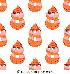 Seamless pattern with cartoon cookies of number eight