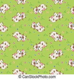 Seamless pattern with cartoon cows.