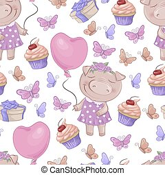 Seamless pattern with cartoon cute pigs. Vector illustration