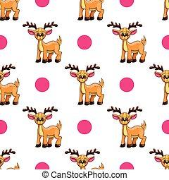 Seamless pattern with cartoon deers