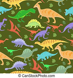 Seamless pattern with cartoon dinosaurs. Vector illustration