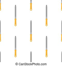 Seamless pattern with cartoon file rasp on white background. Gardening tool. Vector illustration for any design.