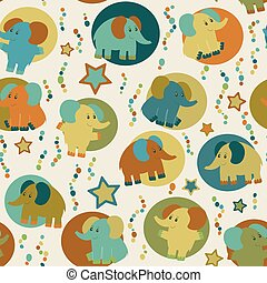 Seamless pattern with cartoon funny elephants