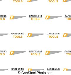 Seamless pattern with cartoon hand saws on white background. Gardening tool. Vector illustration for any design