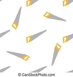 Seamless pattern with cartoon hand saws on white background. Gardening tool. Vector illustration for any design.