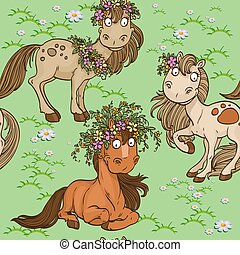 Seamless pattern with cartoon horses on a green lawn