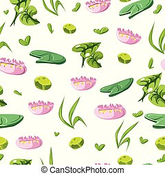 seamless pattern with cartoon lily and grass