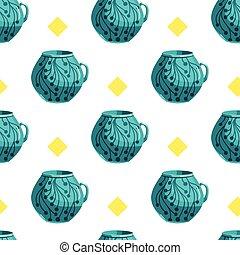 Seamless pattern with cartoon mugs-2